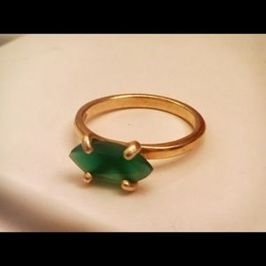 Jewelry - Gold filled ring over silver, green onyx.